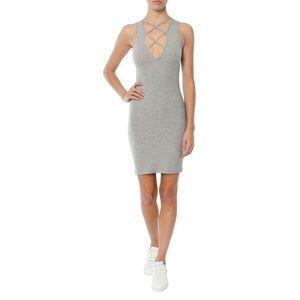 LNA Lace Up V Dress Grey Marengo Size XS NWT